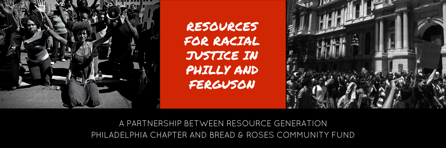 Banner for the initiative featuring photos of activists in Ferguson and in Philadelphia.