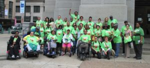Philadelphia Coalition for Affordable Communities members gather at City Hall in November before land bank hearing.