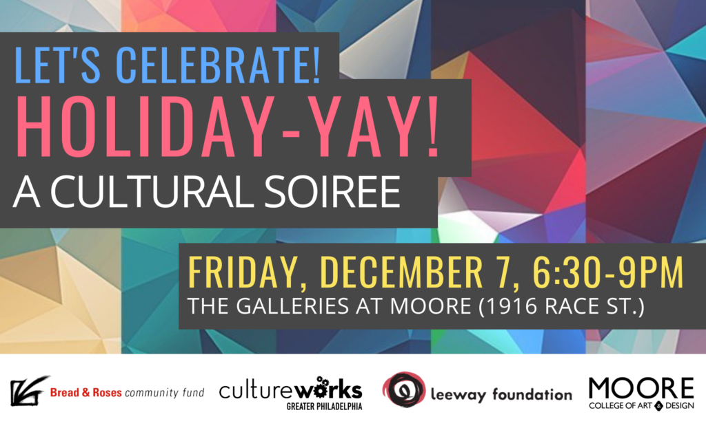 """Text reads """"Celebrate! Holiday-Yay! A Culutral Soiree, Friday, December 7"""""""