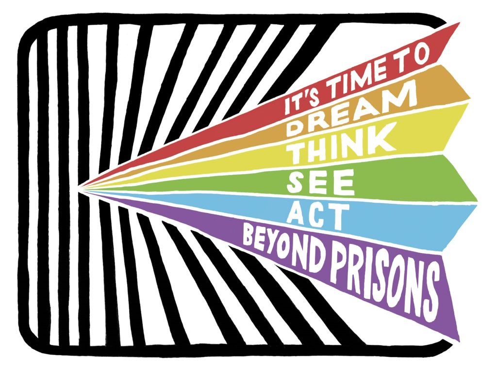 "Rainbow with text ""It's time to dream, think, see, act beyond prisons"""