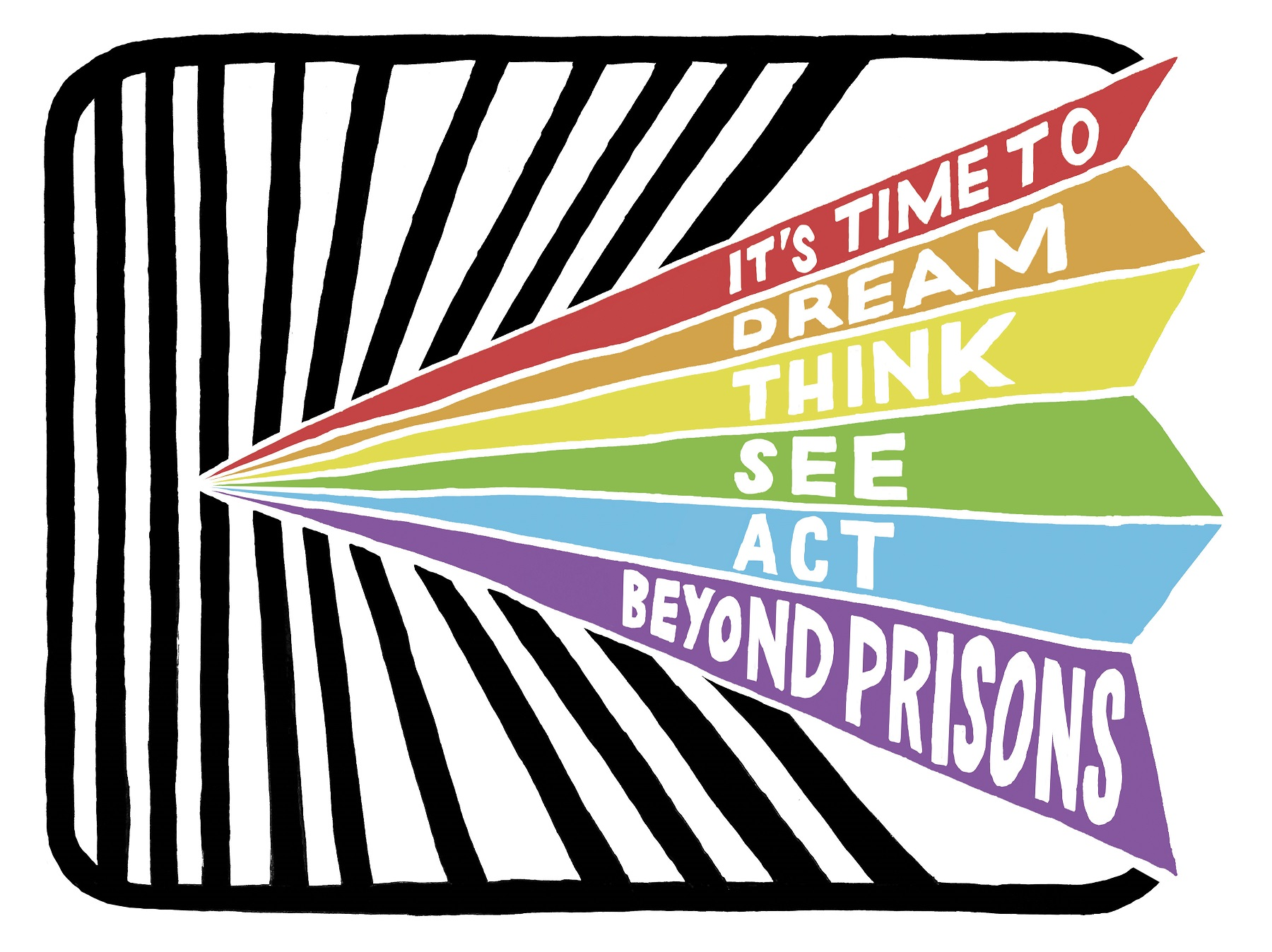 """Rainbow with text """"It's time to dream, think, see, act beyond prisons"""""""