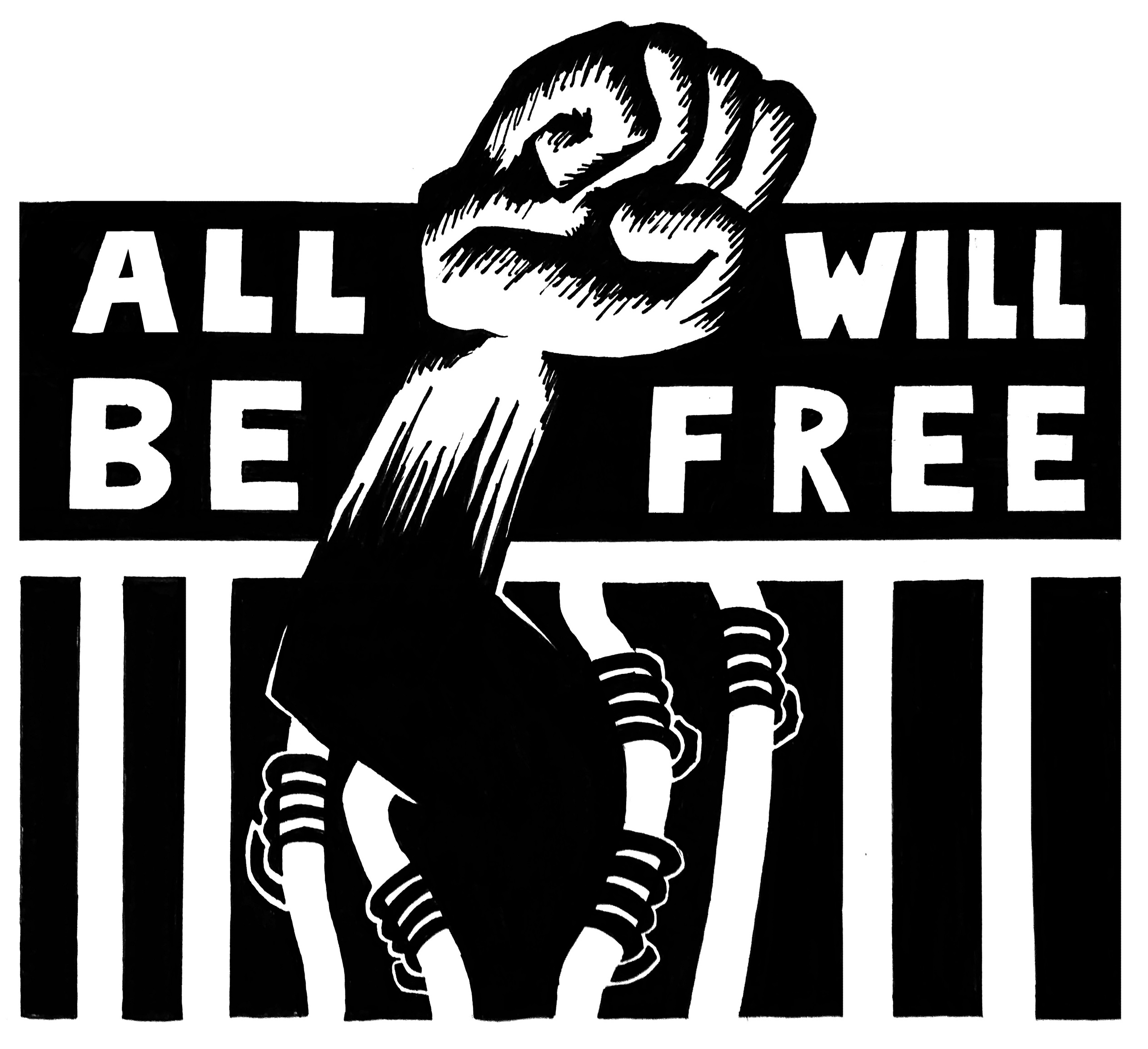 """Graphic of fist breaking through bars with text """"All Will Be Free"""""""