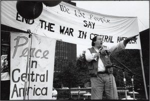 Photo of Bob Brand speaking at a Peace in Central America action