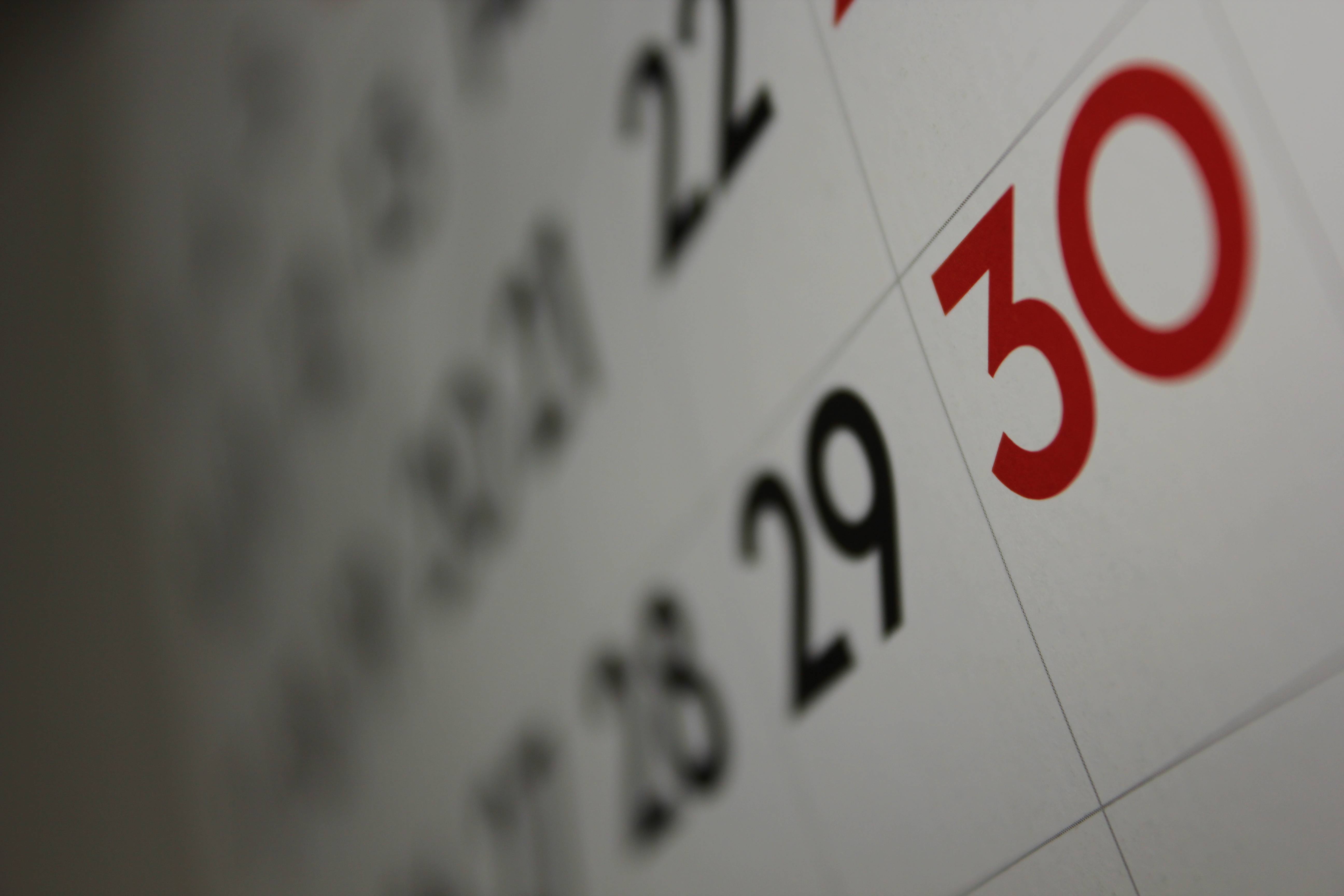Zoomed in image of a calendar.