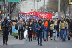 Black Radical Tradition Conference participants walk down Broad Street in the March for our Future in January. Photo credit: Black Radical Organizing Collective.