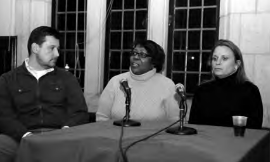 Tim Finucan of SEIU 32BJ, Evette Jones of the Philadelphia Federation of Teachers, and Andi Perez of Youth United for Change discuss obstacles they overcame to work together. Photo: Harvey Finkle