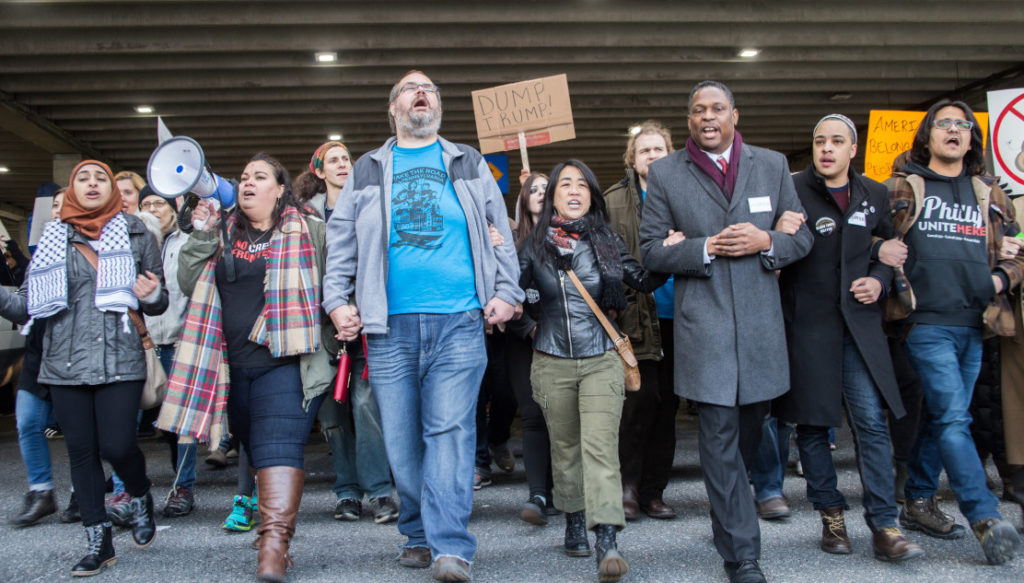 Philadelphia airport protests, credit Kristi Petrillo
