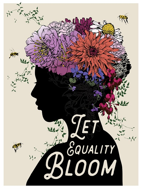 "Words ""let equality bloom"" over illustration of a flower crown on a silhouette"