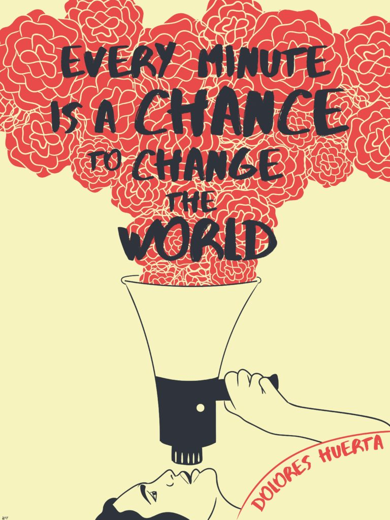 """Artwork: person saying through loudspeaker """"Every minute is a chance to change the world"""""""